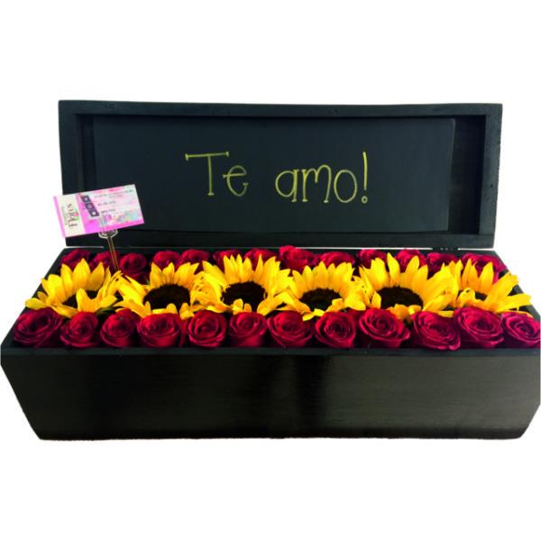 Caja de Rosas y Girasol