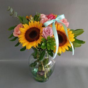 Jarrón Girasoles & Rosas