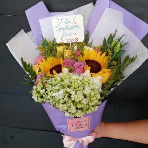 Ramo de Girasol y Rosas Hortensia