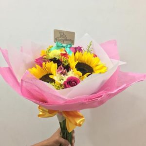 Ramo de Girasol y Rosas Cumpleaños