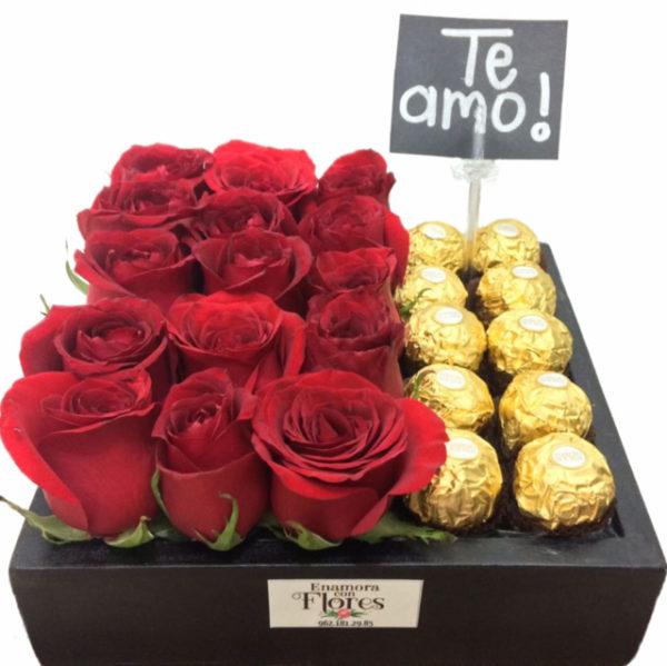 Caja de Rosas con Ferreros